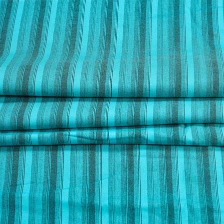 Cyan Black Stripe Handloom Cotton Fabric-41018