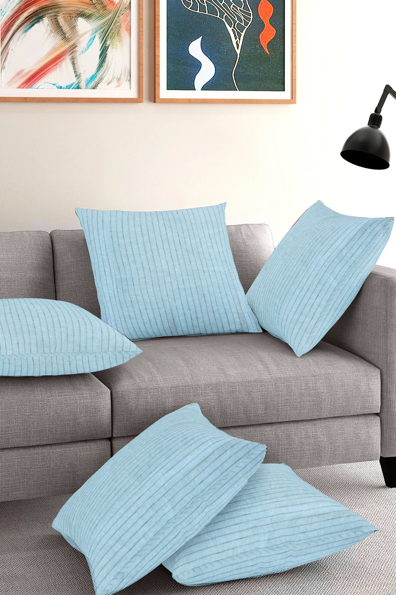 Set of 5-Cyan Blue Cotton Cushion Cover-35390-16x16 Inches