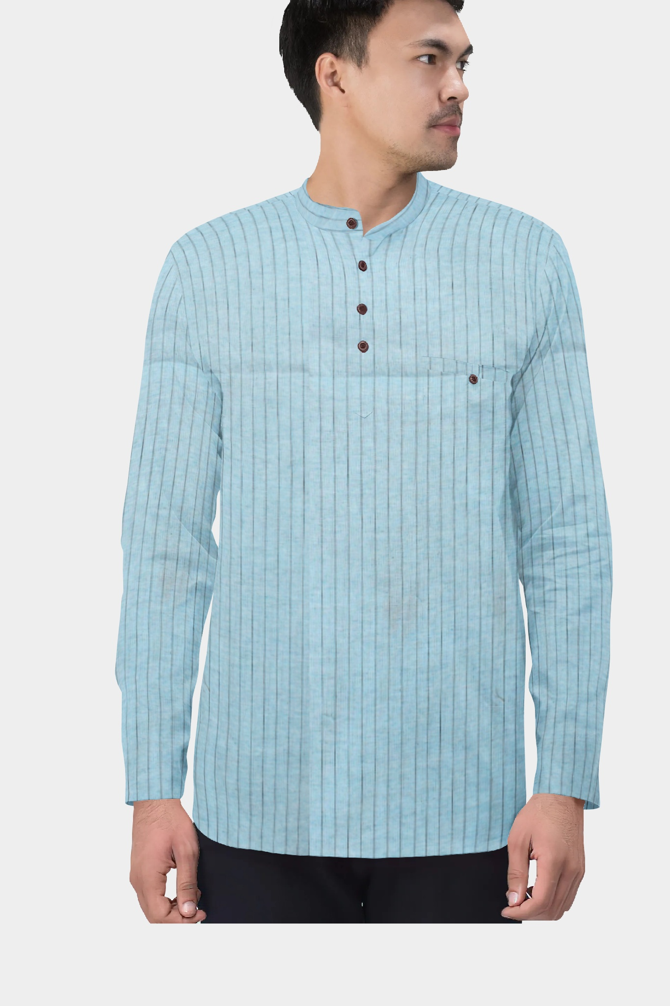 Cyan Blue Cotton Striped Short Kurta-35434