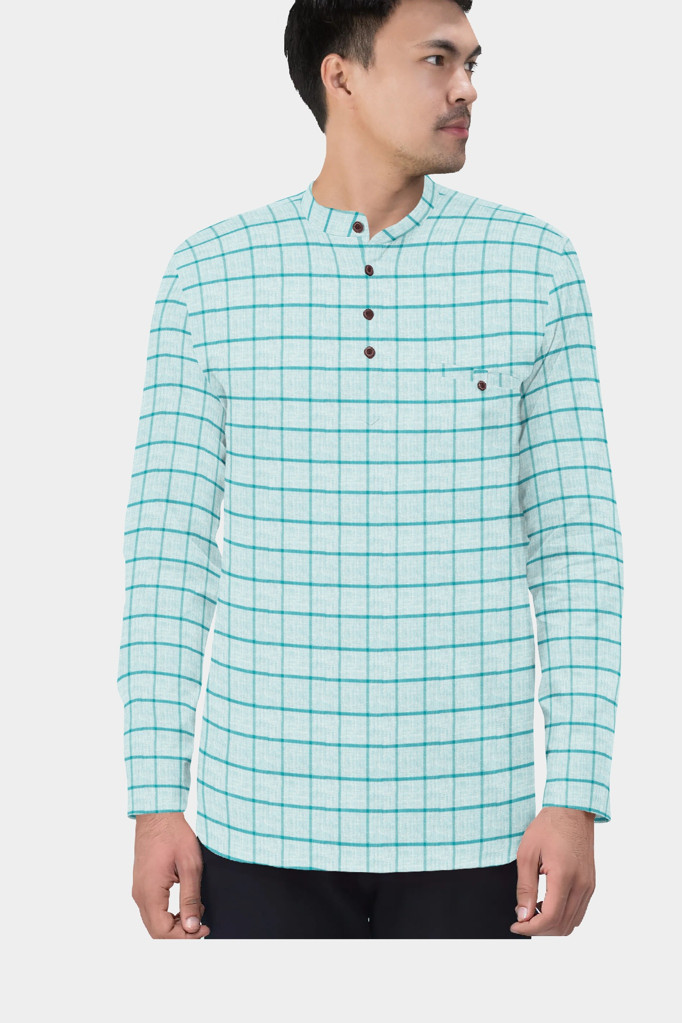 Cyan Blue Cotton Check Short Kurta-35447