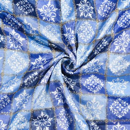 Cyan Blue Digital Position Print Chinon Embroidery Fabric-19337