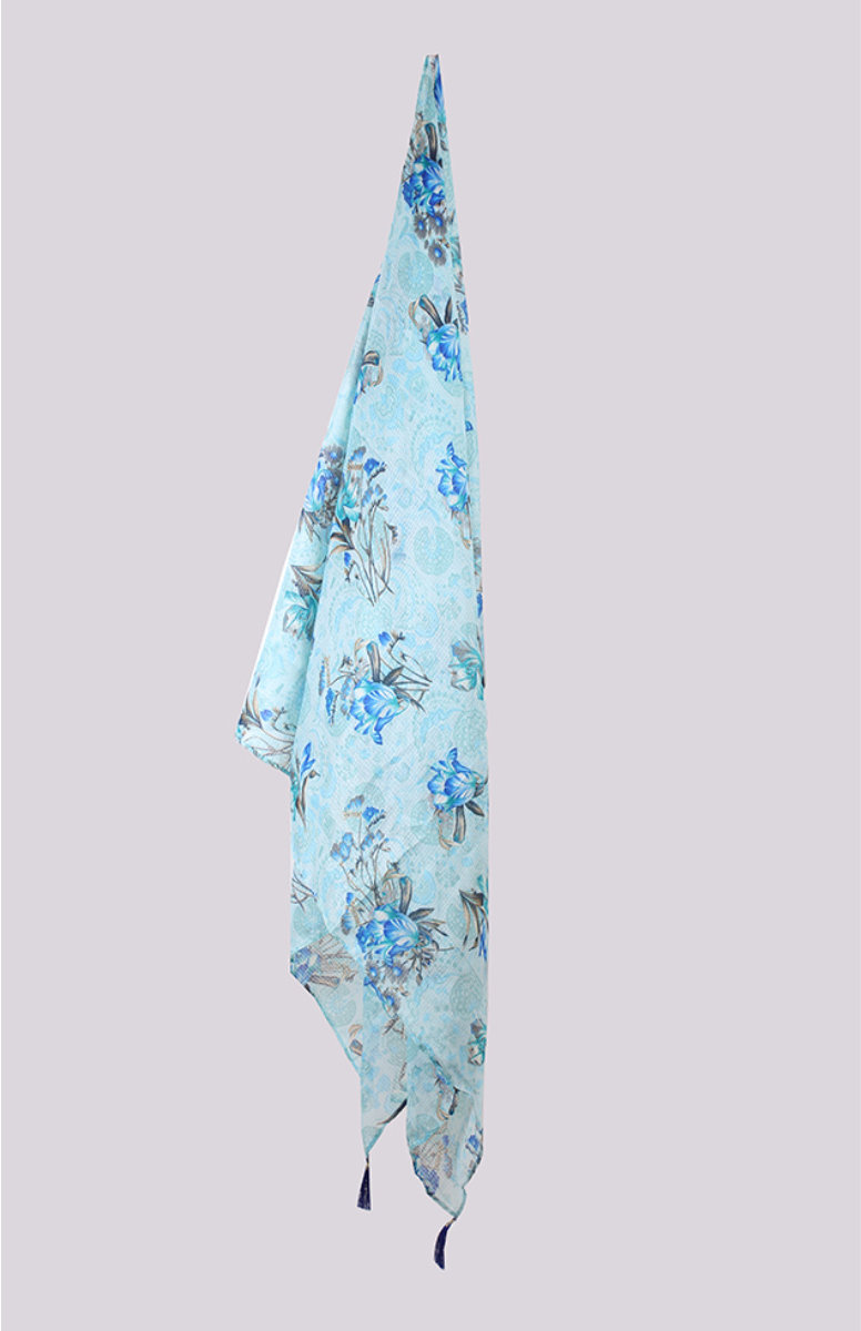 Cyan Blue Digital Printed Kota Doria Dupatta with Tassel-33442