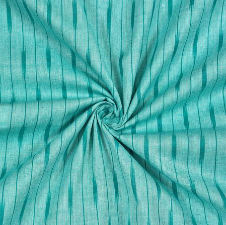 Cyan Blue Ikat Cotton Fabric-11104