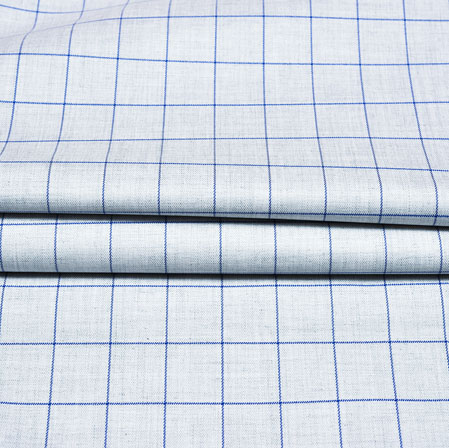 Cyan Blue Checks Wool Fabric-90222
