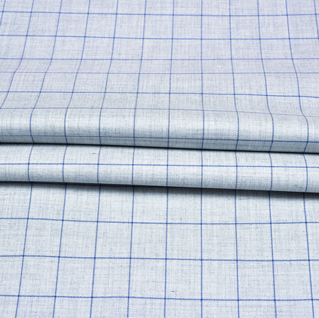 Cyan Blue Checks Wool Fabric-90230