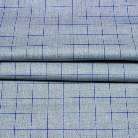 Cyan Blue Checks Wool Fabric-90237