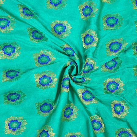 Cyan Blue and Golden Floral Satin Brocade Meena Fabric-12933