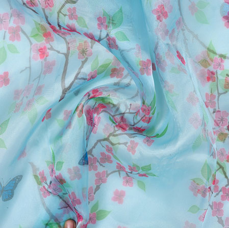 Cyan Blue and Green Butterfly Organza Silk Fabric-22090