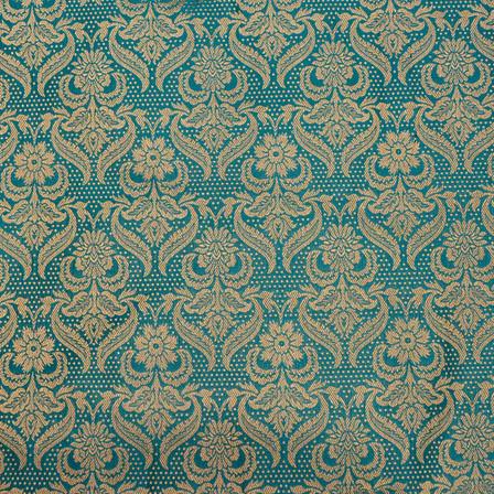 Cyan Blue flower shape golden silk brocade fabric-4976