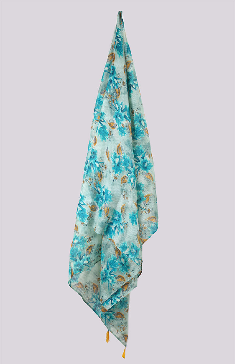 Cyan Brown Digital Printed Kota Doria Dupatta with Tassel-33429