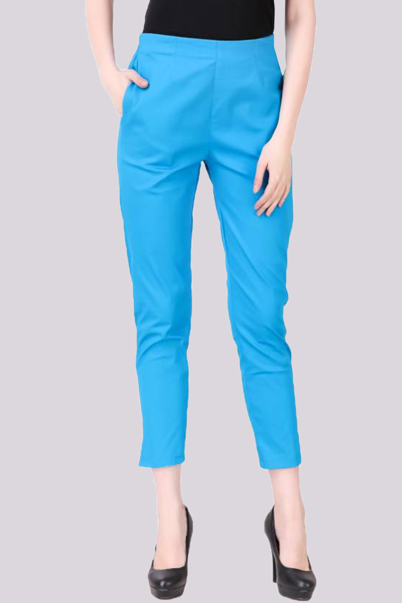 Cyan Cotton Flex Pant with Side Chain and Pocket-33393