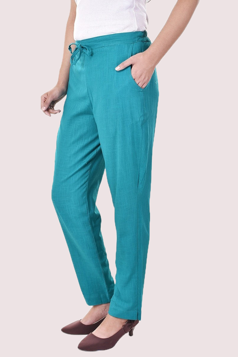 Cyan Cotton Slub Solid Women Pant-33301