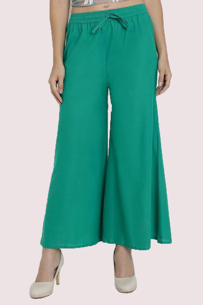 Cyan Cotton Solid Women Palazzo-33313