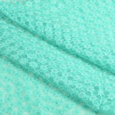 Cyan Flower Sequin Net Fabric-60653