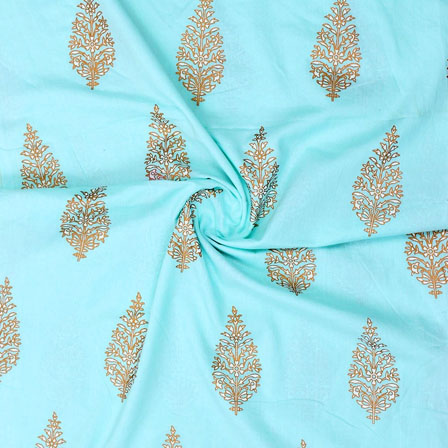 Cyan Golden Block Print Cotton Fabric-14876