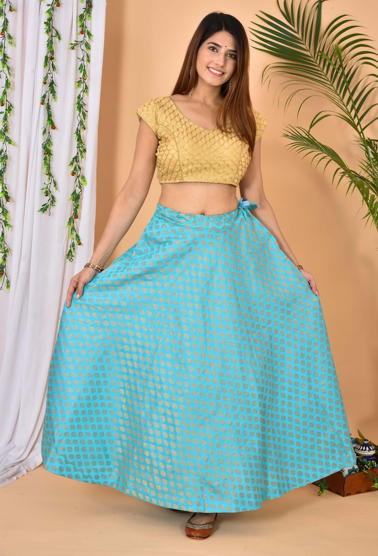 Cyan Golden Brocade Silk Wedding Lehenga-36969