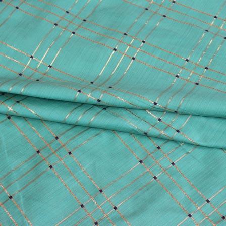 Cyan Golden Checks Brocade Silk Fabric-9238