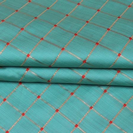 Cyan Golden Checks Zari Brocade Silk Fabric-9293