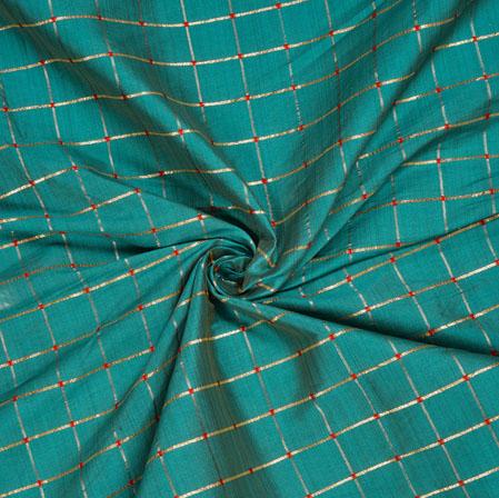 Cyan Golden Checks Zari Taffeta Silk Fabric-12653