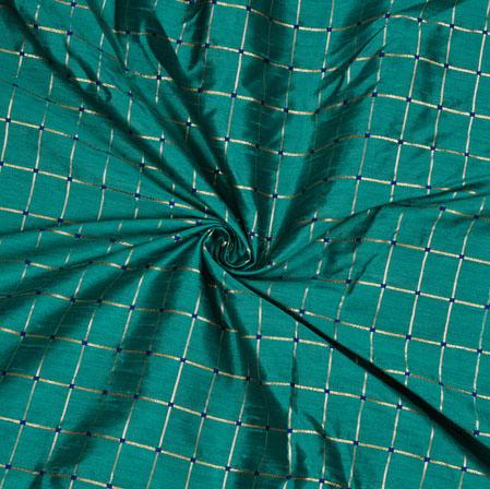 Cyan Golden Checks Zari Taffeta Silk Fabric-12655