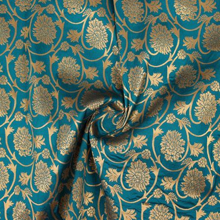 Cyan Golden Floral Brocade Silk Fabric-9113