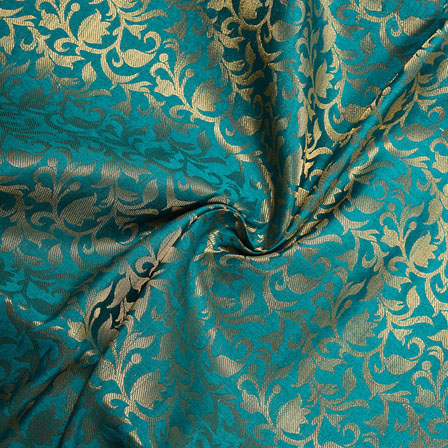 Cyan Golden Floral Chanderi Zari Silk Fabric-12175