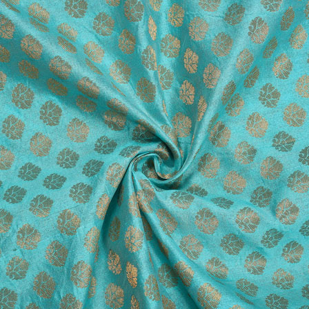 Cyan Golden Floral Chanderi Zari Silk Fabric-12178