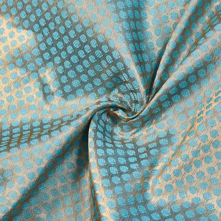 Cyan Golden Floral Chanderi Zari Silk Fabric-12286