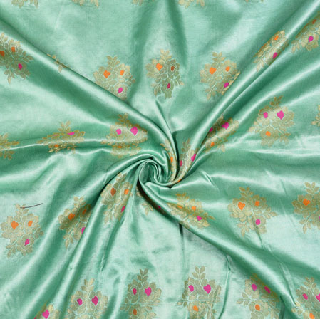 Cyan Golden Floral Satin Brocade Silk Fabric-12809