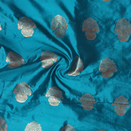 Cyan Golden Flower Pot Brocade Silk Fabric-9231