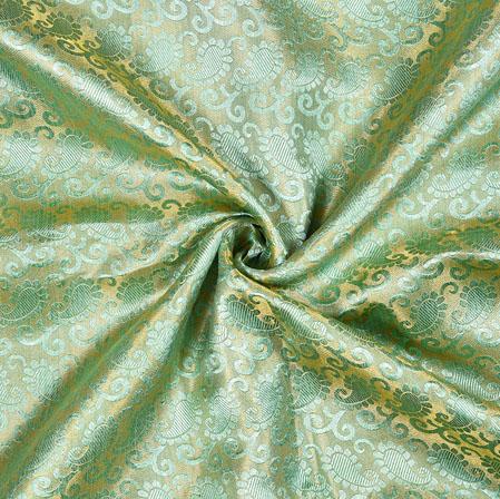 Cyan Golden Paisley Brocade Silk Fabric-12902