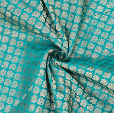 Cyan Golden Paisley Chanderi Zari Silk Fabric-12597
