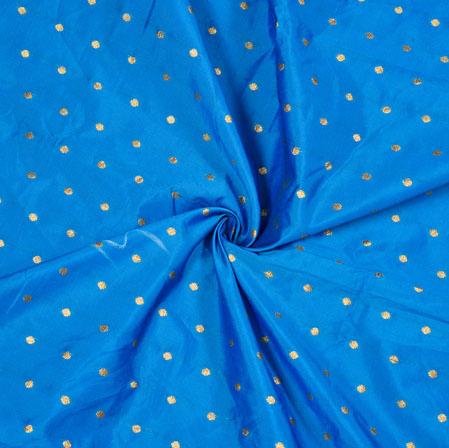 Cyan Golden Polka Zari Taffeta Silk Fabric-12630