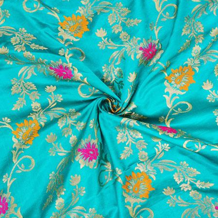 Cyan Golden and Pink Floral Banarasi Silk Fabric-12556