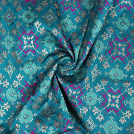Cyan Golden and Pink Floral Banarasi Silk Fabric-9322