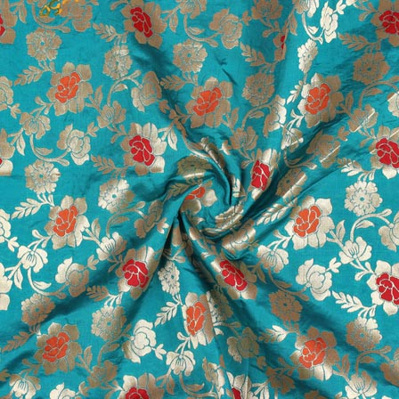 Cyan Golden and Red Floral Banarasi Silk Fabric-9270