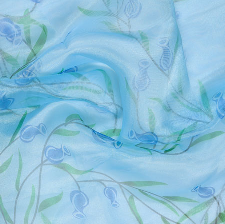 Cyan Green Floral Organza Silk Fabric-22098