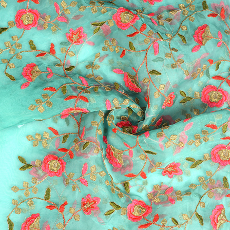 Cyan-Green and Golden Flower Organza Embroidery Fabric-51187