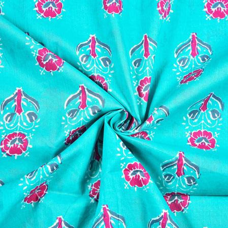 Cyan Magenta Pink Floral Block Print Cotton Fabric-28408