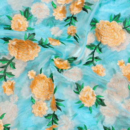 Cyan Orange and Green Floral Embroidery Organza Silk Fabric-22016