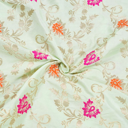 Cyan Orange and Pink Floral Banarasi Silk Fabric-12090
