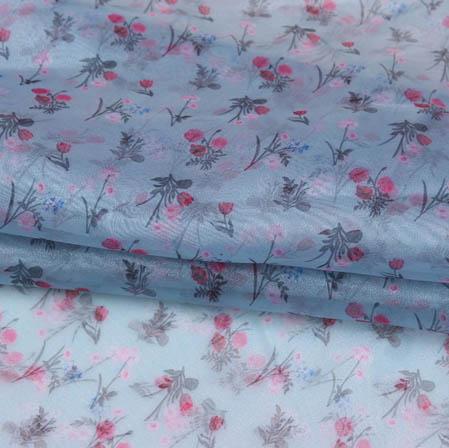 Cyan Pink Digital Floral Organza Silk Fabric-51752