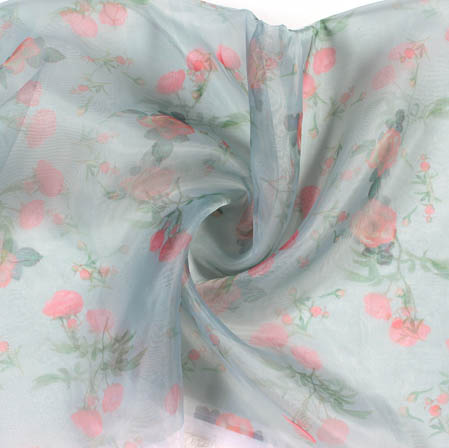 Cyan Pink Digital Floral Organza Silk Fabric-51814