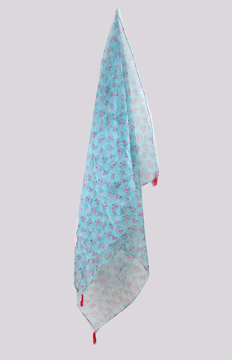 Cyan Pink Digital Printed Organza Dupatta with Tassel-33425