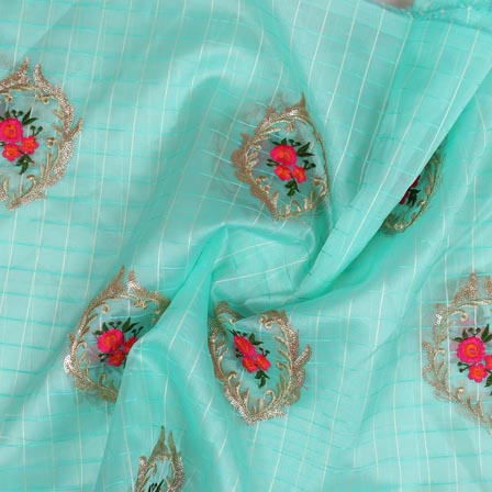Cyan Pink Embroidery Organza Silk Fabric-51625