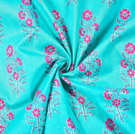 Cyan Pink Floral Block Print Cotton Fabric-28528