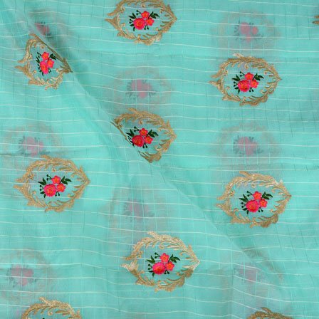Cyan Pink Flower embroidery Organza Silk Fabric-51523