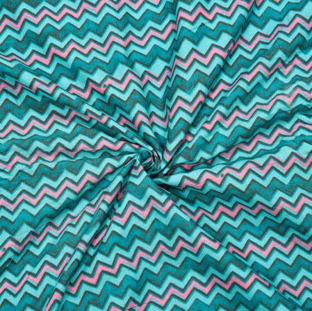 Cyan Pink Leheriya Cotton Fabric-28085