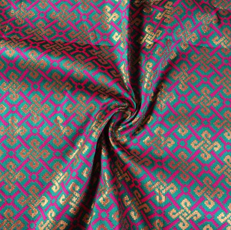 Cyan Pink and Golden Floral Banarasi Silk Fabric-9503