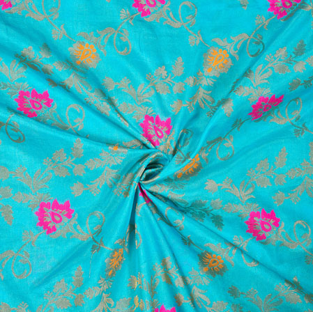Cyan Pink and Golden Floral Satin Brocade Silk Fabric-12694